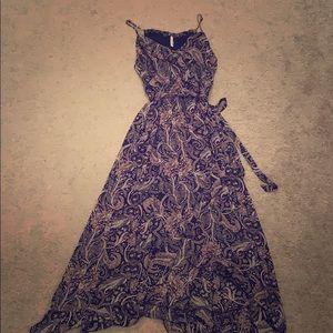 Navy paisley high low maxi dress